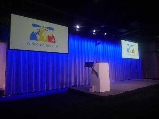 Just before the first talk on various topics that amounts to a large welcome to Google.