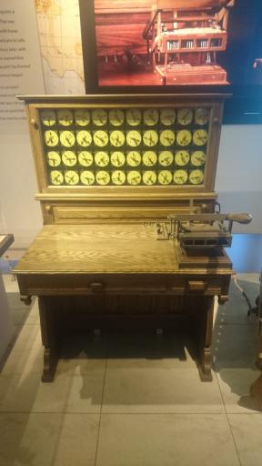 This machine was used for processing US Census records in 1980, the data being fed by punch cards. This system of using punched cards was created by Herman Hollerith.